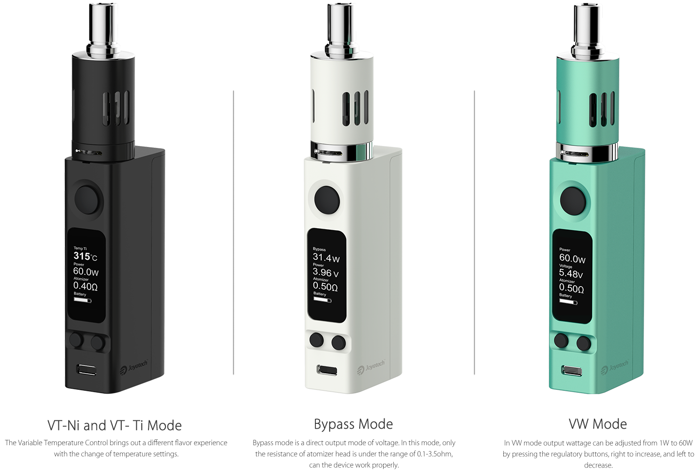 Evic VTC Mini Kit Modes